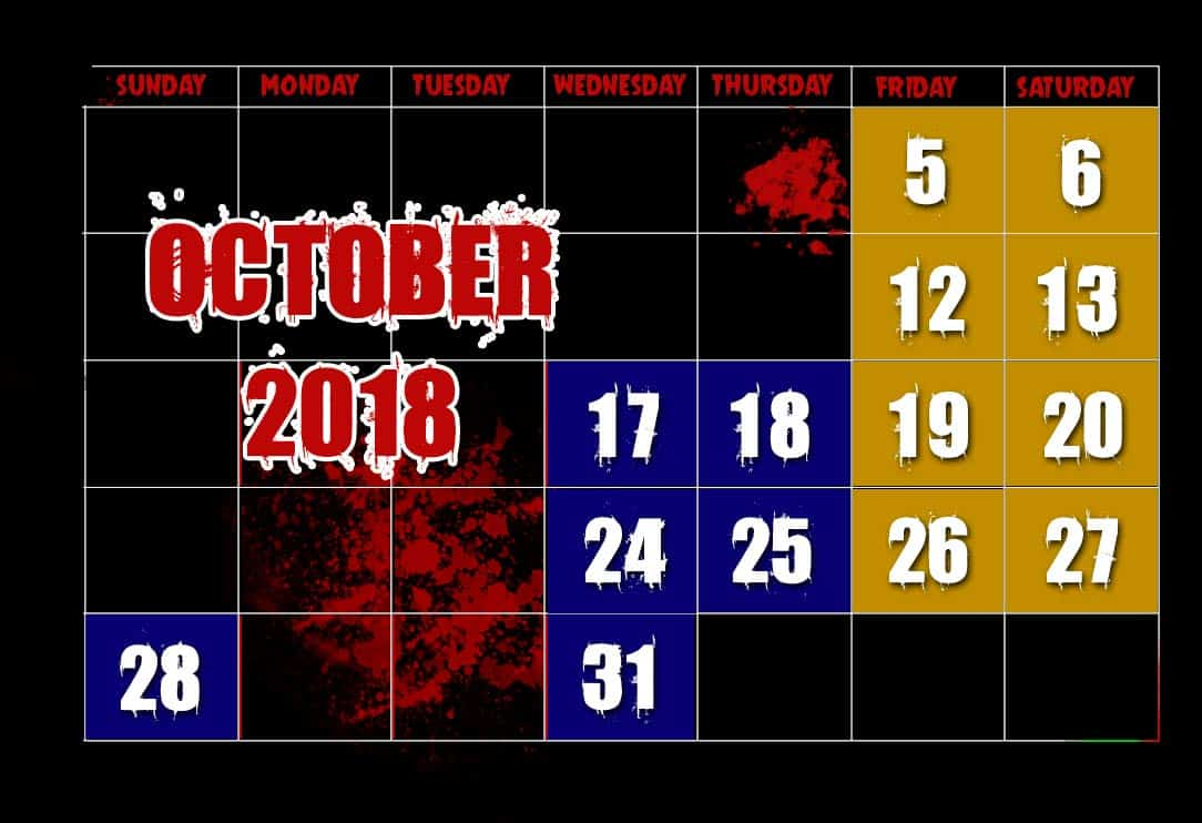 October 2018 Haunted House Dates